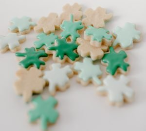 Support for Dementia :Biscuits in jigsaw shapes covered in green icing